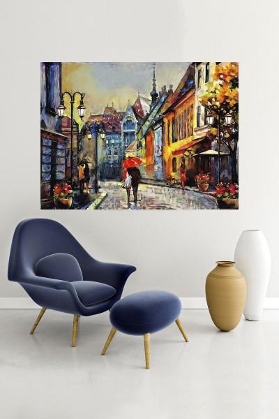 Aşk Modelli Yatay Yağlı Boya Desenli kanvas tablo 65x115