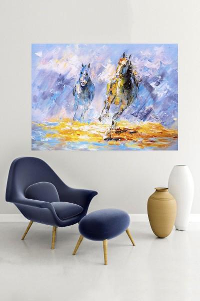 At Modelli Yatay Yağlı Boya Desenli kanvas tablo 65x115