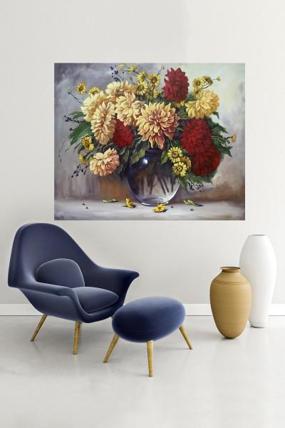 Çiçek  Modelli Yatay Yağlı Boya Desenli kanvas tablo 65x115