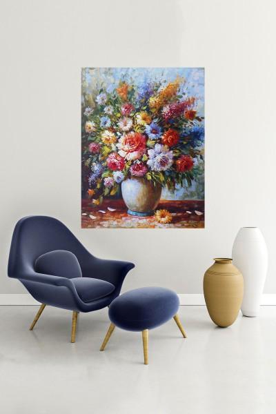 Çiçek Modelli Dikey Yağlı Boya Desenli kanvas tablo 50x70 Cm
