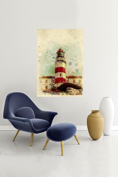 Deniz Kulesi Modelli Dikey Yağlı Boya Desenli kanvas tablo 50x70 Cm