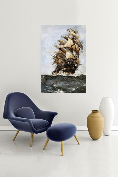 Gemi Modelli Dikey Yağlı Boya Desenli kanvas tablo 50x70 Cm