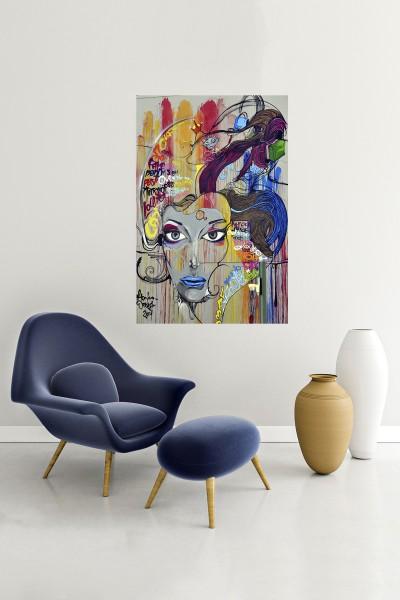 Grafiti Modelli Dikey Yağlı Boya Desenli kanvas tablo 50x70 Cm