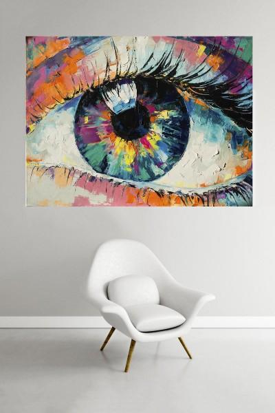 Göz Modelli Yatay Yağlı Boya Desenli kanvas tablo 65x115