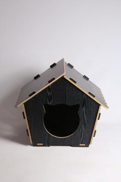 Kedi Evi Siyah Ahşap Dekoratif Demonte Kedi Yatağı 8 mm MDF