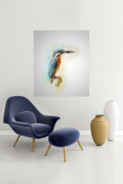 Kuş Modelli Dikey Yağlı Boya Desenli kanvas tablo 50x70 Cm