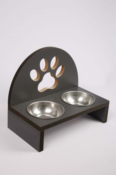 Oval Patili Ahşap Gri Siyah Kedi Köpek Mama Su Kabı