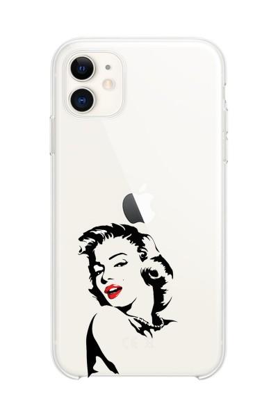 Marilyn Monroe Baskılı iPhone 12 Mini Şeffaf Telefon Kılıfı