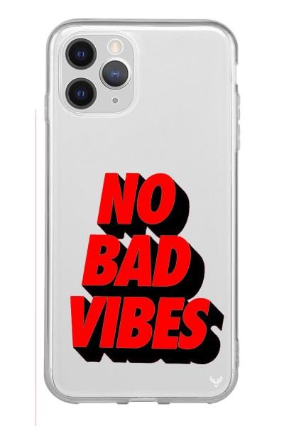 No Bad Vibes Baskılı iPhone 12 Pro Kabı Şeffaf Telefon Kılıfı