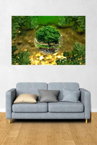 Ağaç Modelli Yatay Yağlı Boya Desenli kanvas tablo 70x50