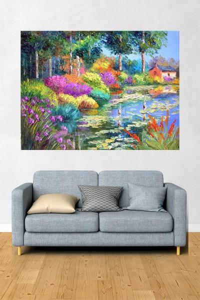 Göl Modelli Yatay Yağlı Boya Desenli kanvas tablo 70x50