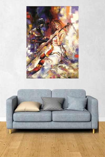 Keman Modelli Dikey Yağlı Boya Desenli kanvas tablo 70x50