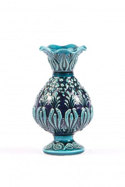 Çini Vazo El Yapımı Dekoratif Küçük Turkuaz Çini Vazo 14x6 cm