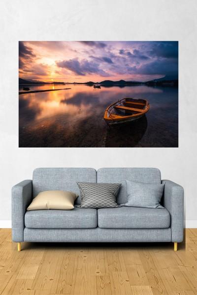 Tekne Modelli Yatay Yağlı Boya Desenli kanvas tablo 70x50