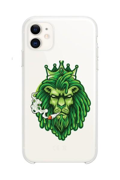 Aslan Baskılı iPhone 11 Kabı Şeffaf Silikon Telefon Kılıfı