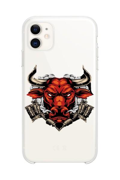 Boğa Baskılı iPhone 11 Kabı Şeffaf Silikon Telefon Kılıfı