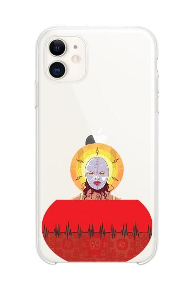 Lin Pesto Kadın Baskılı iPhone 11 Kabı Şeffaf Telefon Kılıfı