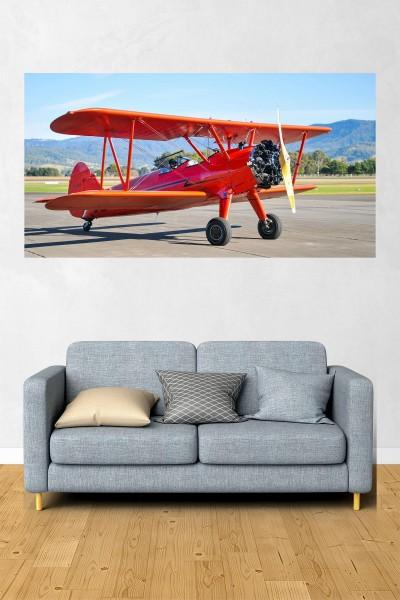 Uçak Modelli Yatay Yağlı Boya Desenli kanvas tablo 70x50