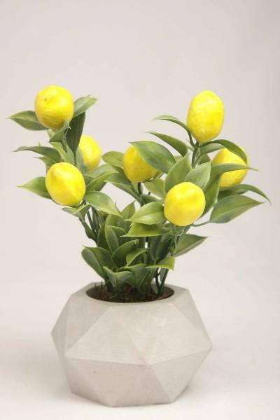 Yapay Limon Ağacı Beton Saksıda Dekoratif Yapay Çiçek Ve Bitki Tanzimi