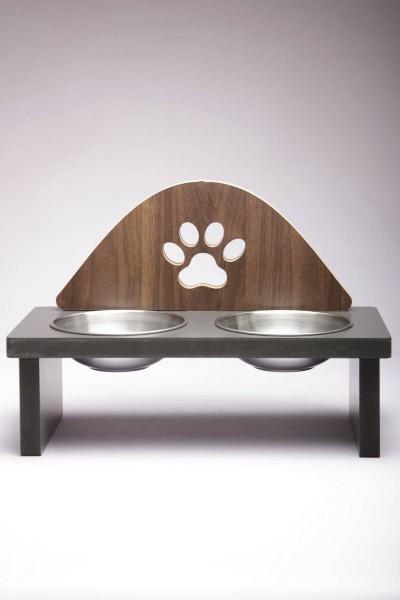 Pati Tasarımlı Ahşap Kedi Mama Kabı Standı Demonte Köpek Su Kabı