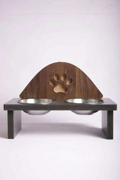 Ahşap Kedi Mama Kabı Standı Pati Tasarımlı Demonte Köpek Su Kabı