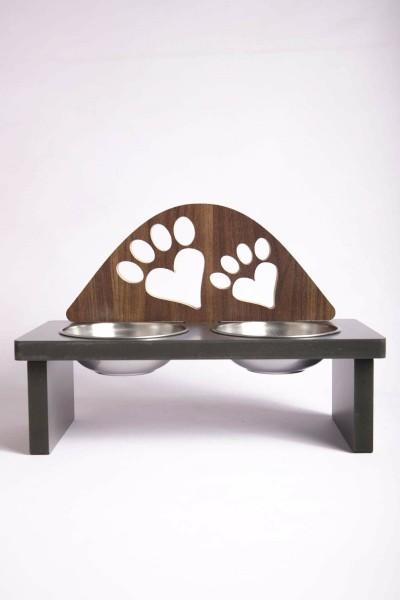 Kalpli Pati Tasarımlı Ahşap Kedi Mama Kabı Standı Köpek Su Kabı