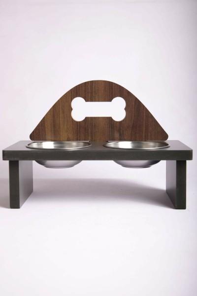 Kemik Tasarımlı Ahşap Kedi Mama Kabı Standı Demonte Köpek Su Kabı