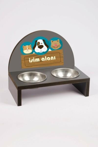 Özel Baskılı Çelik Kaseli Kedi Ve Küçük Irk Köpek Mama Ve Su Kabı