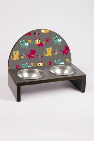 Kedi Baskılı Çelik Kaseli Kedi Ve Küçük Irk Köpek Mama Ve Su Kabı