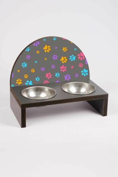Pati Baskılı Çelik Kaseli Kedi Ve Küçük Irk Köpek Mama Ve Su Kabı