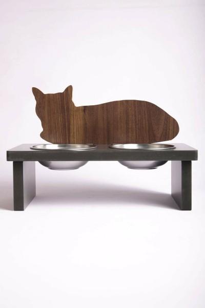 Uykucu Kedi Tasarımlı Ahşap Kedi Mama Kabı Standı Köpek Su Kabı